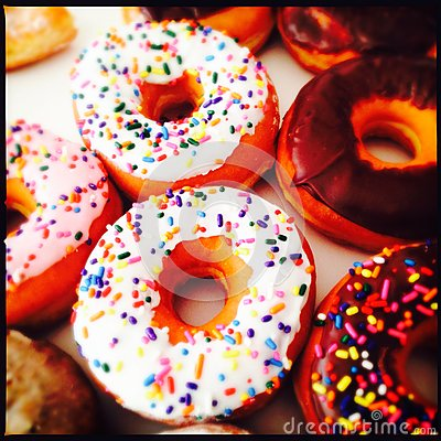 Sprinkled ring donuts
