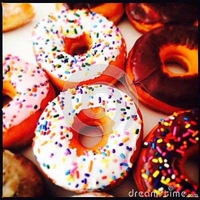 Sprinkled ring donuts