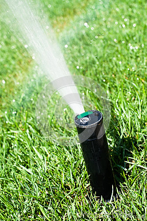 Free Sprinkler Grass Automatic Watering Royalty Free Stock Photos - 32212178