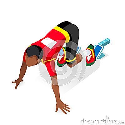 Free Sprinter Runner Athlete At Starting Line Athletics Race Start Summer Games Icon Set.Olympics 3D Flat Isometric Sport Of Athletics Royalty Free Stock Image - 73533236