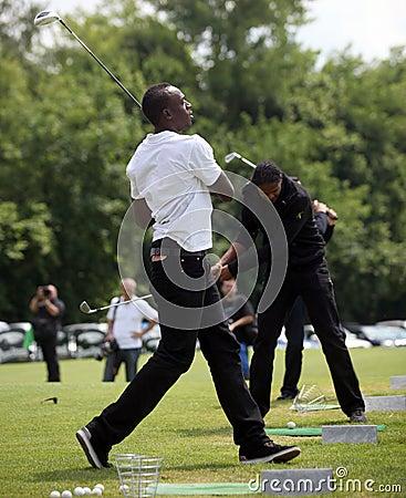 Sprinter Usain Bolt in Czech republic Editorial Photo