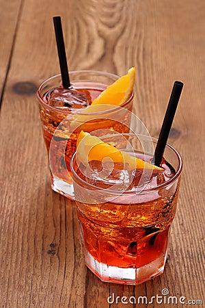 Free Spritz Aperitif, Two Orange Cocktail And Ice Cubes Stock Photos - 41354033