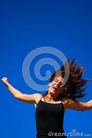 Sprong voor vreugdemeisje