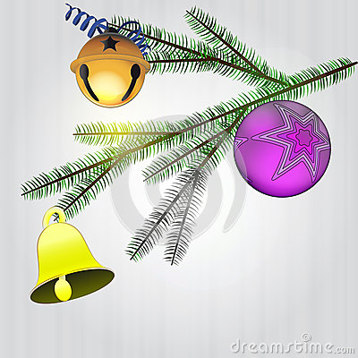 Spruce branch with christmas decoration