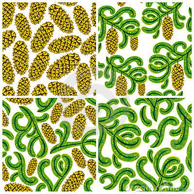 Spruce seamless patterns set.