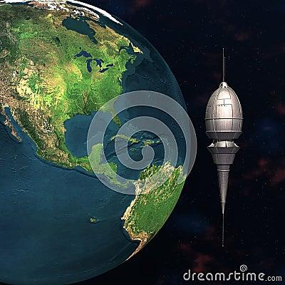 Sputnik basado en los satélites que mueve en órbita alrededor de la tierra 3d