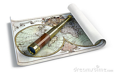 Spyglass and antique map