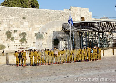 A squad of Israeli soldiers on the square near the Western Wall (Jerusalem) Editorial Photography