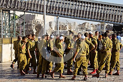 A squad of Israeli soldiers on the square near the Western Wall (Jerusalem) Editorial Stock Image