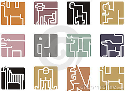Square animal icons