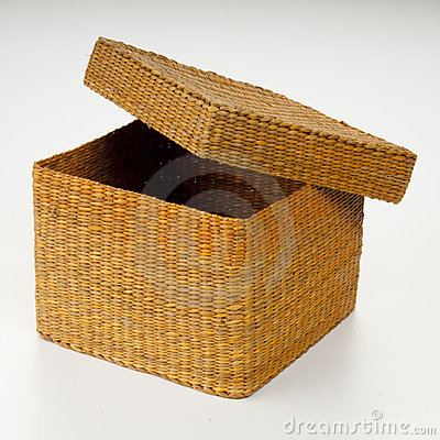 Square Basket With Top Ajar