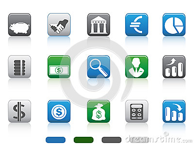 Square button of Finance and Banking icons
