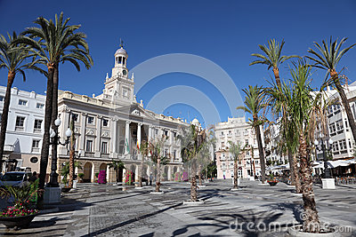 Square in Cadiz, Spain Editorial Photo