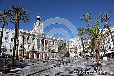 Square in Cadiz, Spain Editorial Photo