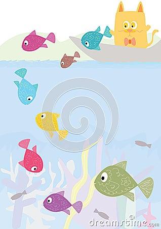 Square Cat Let Fish Go_eps