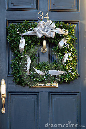Square christmas wreath on door