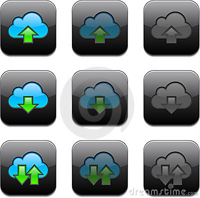 Square cloud computing app icons.