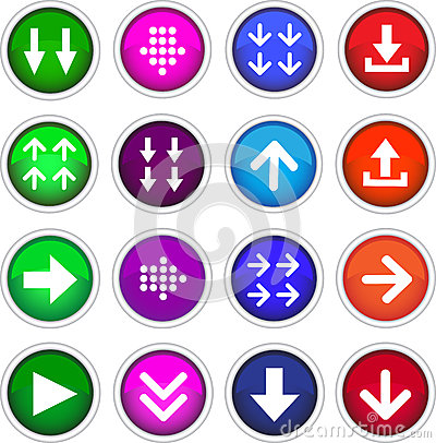 Square color download icons.