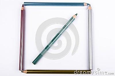 Square of colored pencils