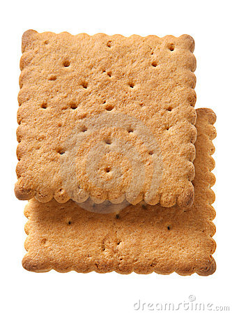 Square honey cookie with pattern white background.