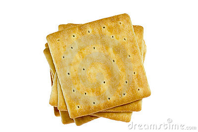 Closeup of square crackers isolated on white background.