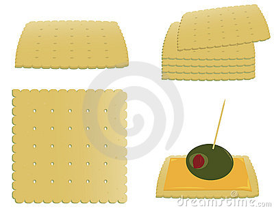 Square crackers and appetizer
