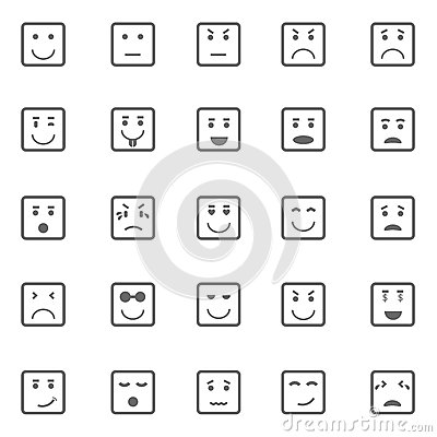 Square face icons on white background