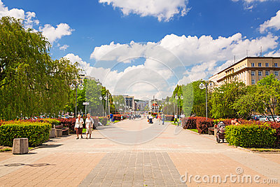 Square in Gdynia in sunny day, Poland Editorial Stock Image