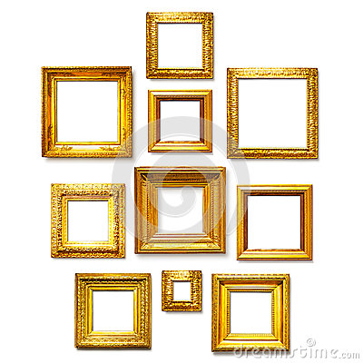 antique square gold frames collection on white background gallery wall ideas