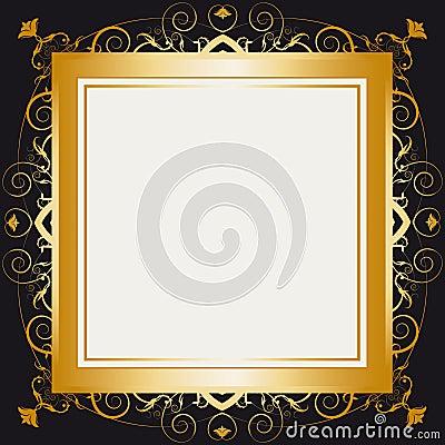 Square gold retro frame