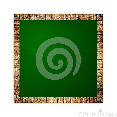 Square green frame on wood