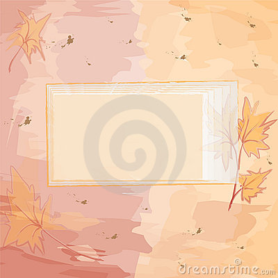Square invitational card with autumnal design