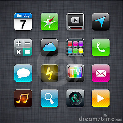Free Square Modern App Icons. Royalty Free Stock Photo - 21797655