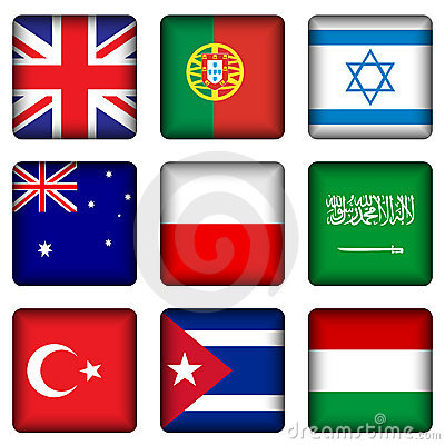 Free Square National Flag Buttons 4 Royalty Free Stock Images - 15105419