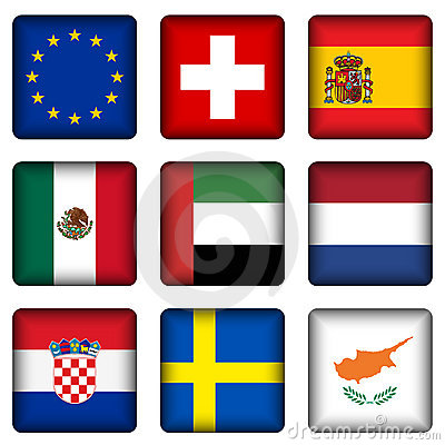 Free Square National Flag Buttons 5 Stock Photos - 15300893