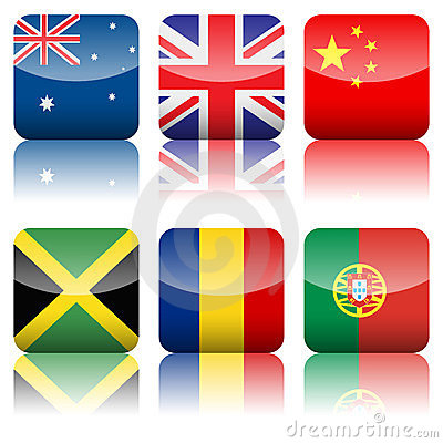 Square national flags icon set