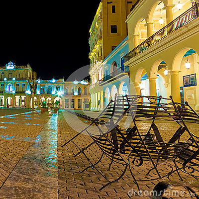 Square in Old Havana illuminated at night