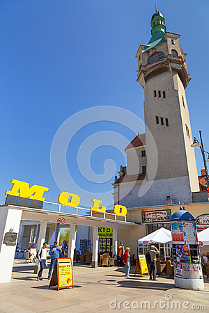 Square of the old town with beautiful architecture in Sopot Editorial Photo