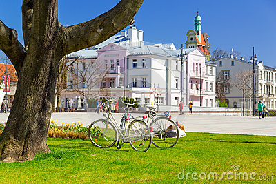 Square of the old town with beautiful architecture in Sopot Editorial Stock Photo