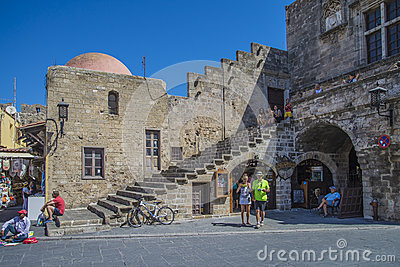 The square in the old town of rhodes Editorial Image