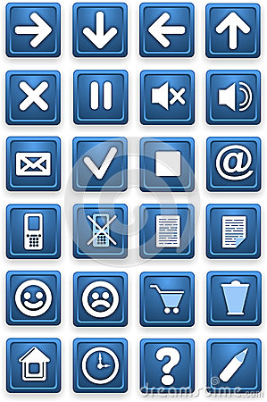 Square pictograms of blue color