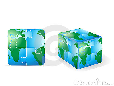 Square puzzle earth