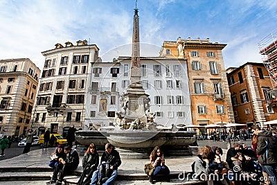 Square of the Rotonda in Rome Editorial Stock Photo