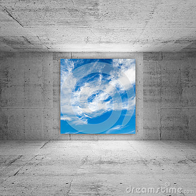 Free Square Screen With Cloudy Sky In Abstract Room Stock Photography - 33598572