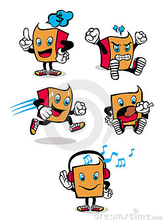 Five different types of cute square-shaped cartoons in various actions ...