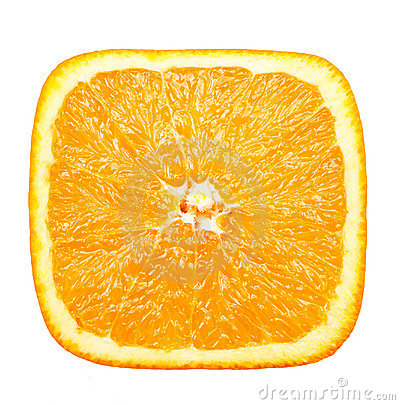 Square slice of orange