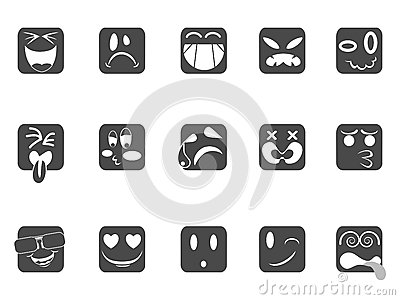 Square smiley face icons