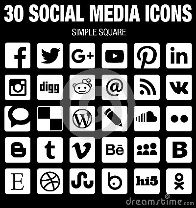 Free Square Social Media Icons Collection Flat Black And White With Rounded Corners Royalty Free Stock Photo - 60703395