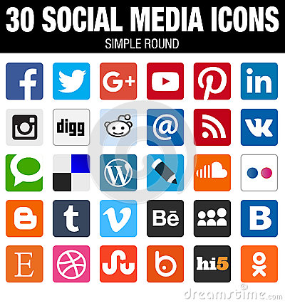 Free Square Social Media Icons Collection With Rounded Corners Royalty Free Stock Photography - 60703197