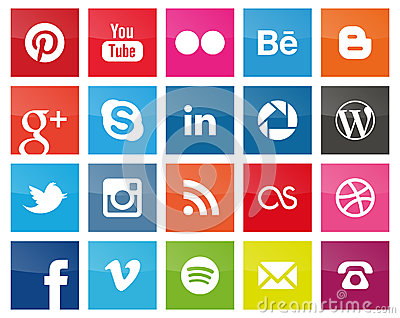 Square Social Media icons Editorial Stock Photo